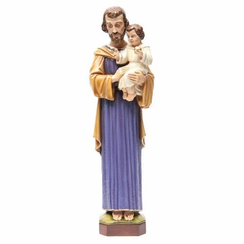 Statue St Joseph à l'enfant marbre 65cm peinte pour l'extérieur s1