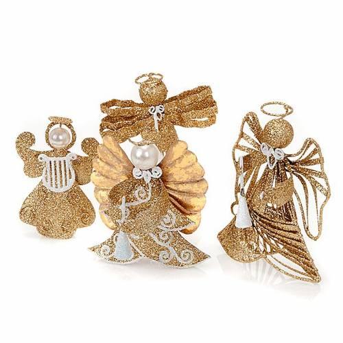 Statuettes anges 4 pièces glitter doré s1