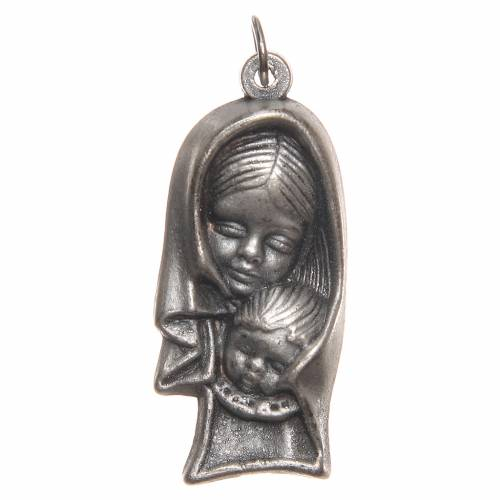 STOCK Médaille Vierge à l'Enfant métal oxydé 40 mm s1