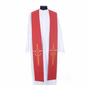 Priesterstolen: Stola rot und violett IHS und Weizenähre