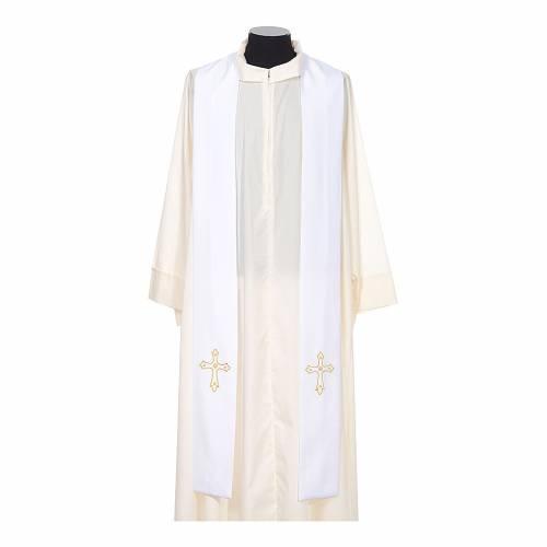 Stola sacerdotale ricamo semplice su due lati tessuto Vatican s5