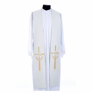 Priesterstolen: Stola weiß und Grün IHS und Weizenähre