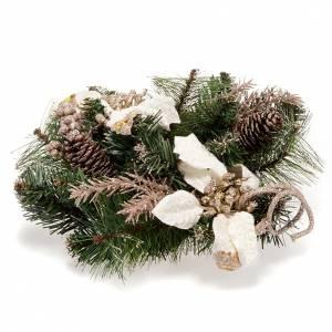 Dekoracje bożonarodzeniowe do domu: Stroik adwentowy zielony Gwiazda Betlejemska biała