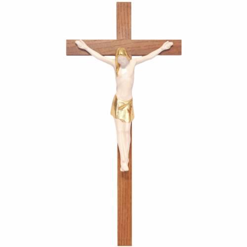 Stylised crucifix in Valgardena wood, antique gold s1