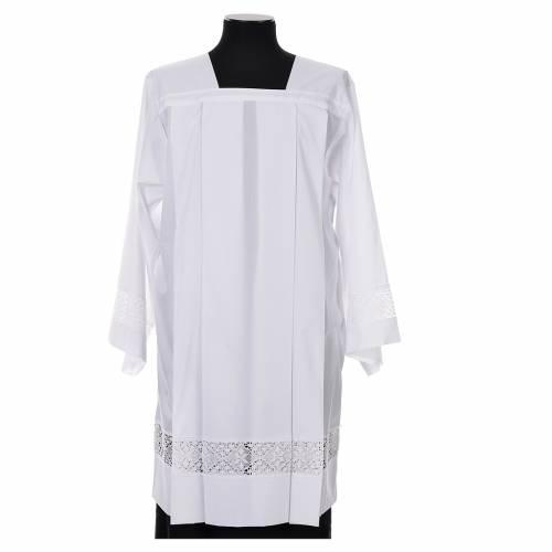 Surplis blanc 100% polyester entretoile dentelle 4 plis s1