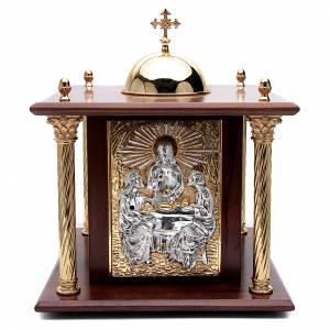 Tabernacle en bois, porte et colonnes en laiton Souper à Emmaüs s1