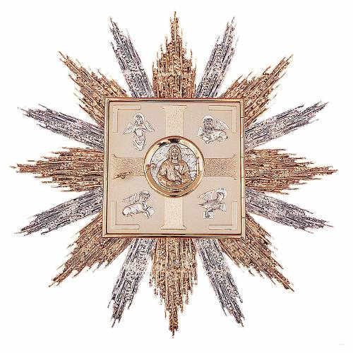 Tabernacle for wall gold/silver-plated brass, Evangelists symbols s1