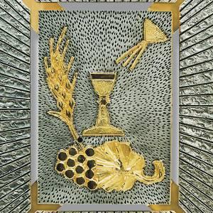 Tabernacle mural, symboles eucharistie, calice, épi s2