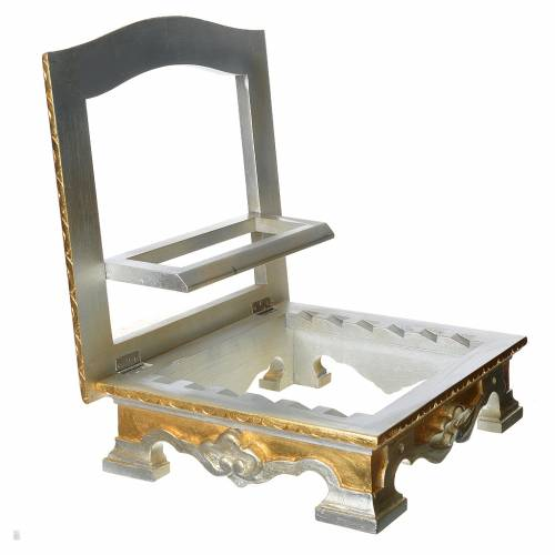 Table lectern in wood, with silver and gold leaf s7