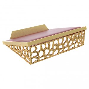 Book stands: Table lectern with golden net and imitation leather surface