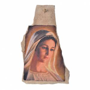 Statues Vierge de Medjugorje: Tableau Notre Dame de Medjugorje sur pierre 40x23cm