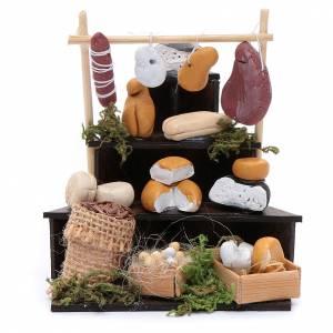Crèche Napolitaine: Étalage en coin de fromage accessoire crèche Naples