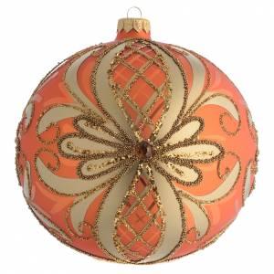 Tannenbaumkugeln: Tannenbaukugel orangen Glas und goldenen Deko 150mm