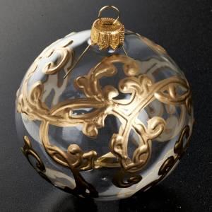Tannenbaumkugeln: Tannenbaumkugel Glas mit goldenen Dekorationen, 8cm