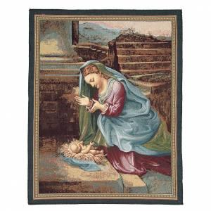 Tapisseries religieuses: Tapisserie La Vierge adorant l'Enfant Jésus Correggio 65x50 cm