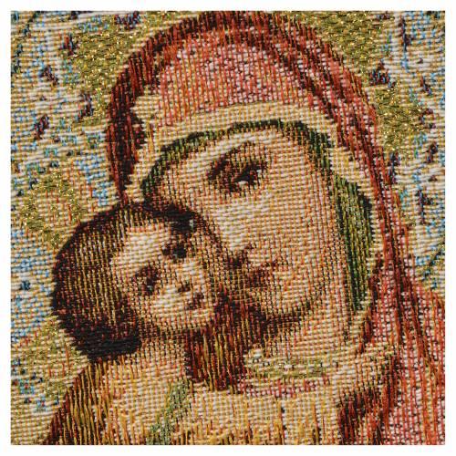 Tapiz con Nuestra Señora y Niño, fondo anaranjado 32x23cm s2