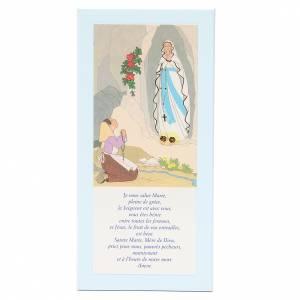 STOCK Tavola Lourdes azzurra preghiera Ave Maria FRANCESE 26x12,5 s1