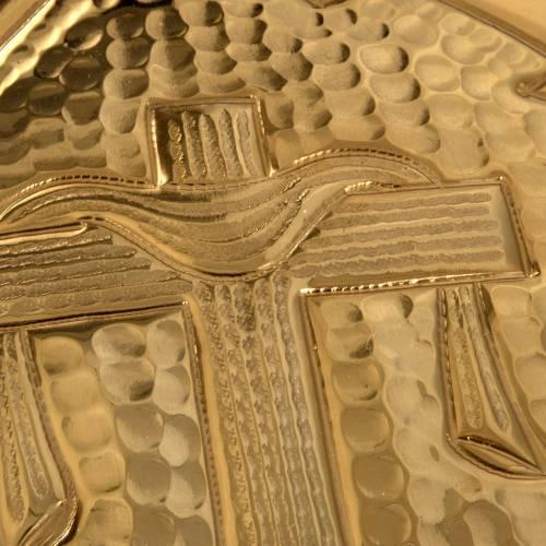 Teca ostia magna ottone dorato croce alfa omega s3