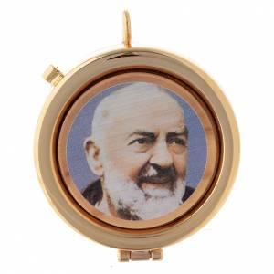 Teca placca ulivo Padre Pio diam. 6 cm s1