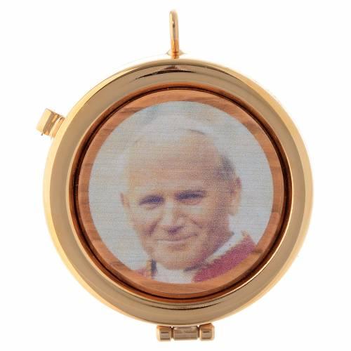 Teca placca ulivo Papa Giovanni Paolo II diam. 6 cm s1