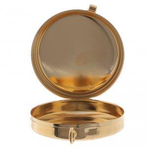 Teca porta Ostie metallo olivo inciso Mani Giunte diam. 5,5 cm s2