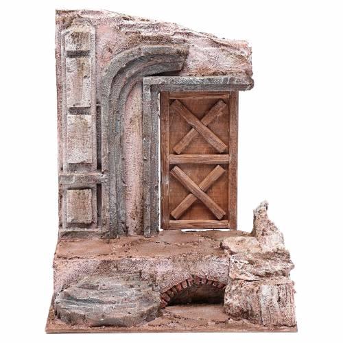 Tempio con porta in legno 29,5x24,5x18 cm s1