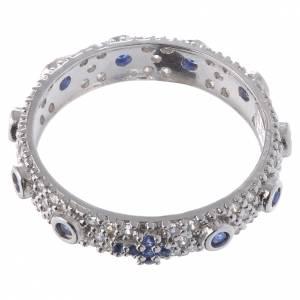 Ten-Beads AMEN rhodium-plated silver 925, blue zircons s2
