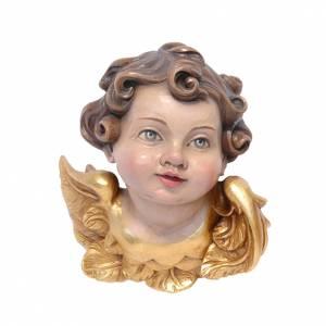 Angeli: Testina angelo legno dipinto Valgardena