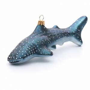 Adornos de vidrio soplado para Árbol de Navidad: Tiburón ballena adorno vidrio soplado Árbol de Navidad