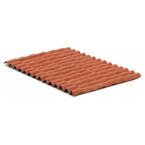 Toit pour maison crèche: plaque tuiles rouges 12,5x9 cm s2