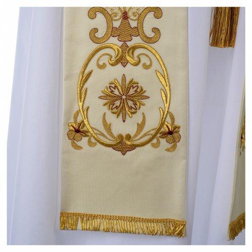 Étole blanche broderies dorées style ancien laine s3