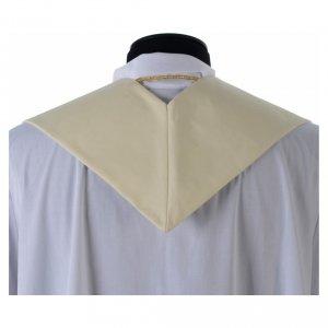 Étole blanche broderies en style ancien laine s4
