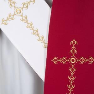 Étole liturgique avec croix dorées fleurs double face s5
