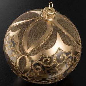 Transparent and gold Christmas blown glass ball 10cm s2