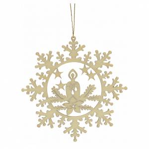 Tree decoration, wooden snowflake with candle s2