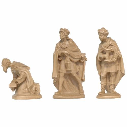 Tres Reyes Magos de madera Valgardena patinada s1