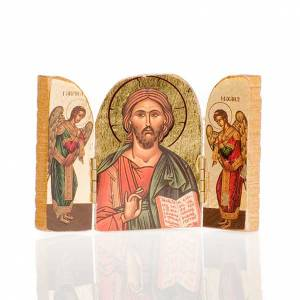 Icons printed on wood and stone: Triptic with various images