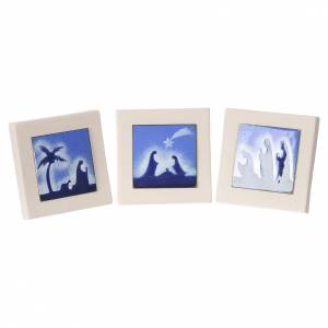 Stylized Nativity scene: Triptych of blue scenes, Ceramics Centro Ave 10cm