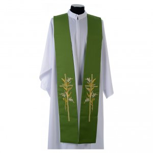 Stoles: Tristole in polyester with cross and ears of wheat symbols