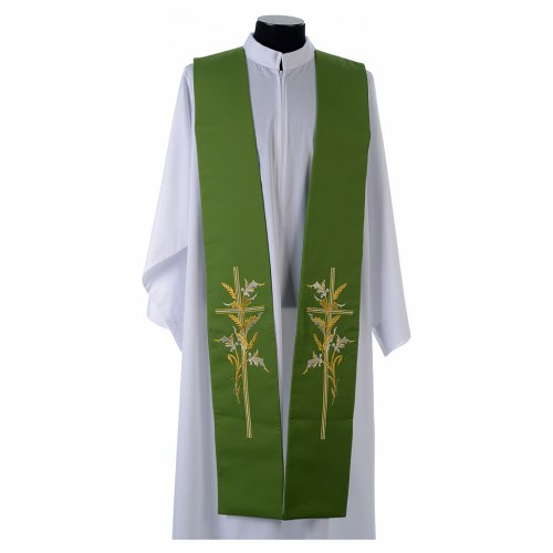 Tristole in polyester with cross and ears of wheat symbols s1