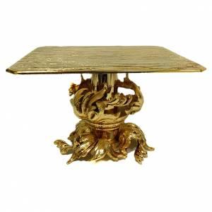 Bases pour ostensoir, trônes: Trône en laiton moulé doré 24x22 cm