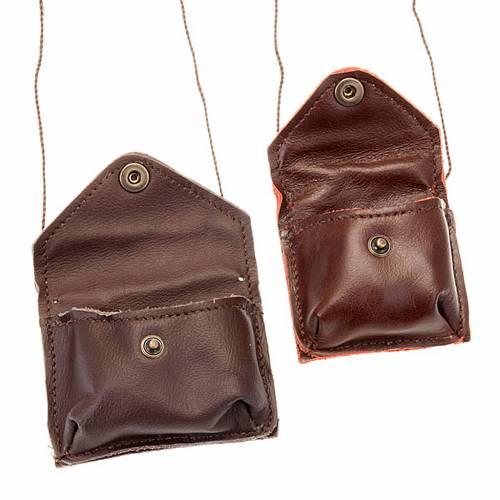 Étui Coffret eucharistique, cuir marron et corde s2