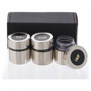 Étui huiles saintes avec 3 ampoules nickelées s2