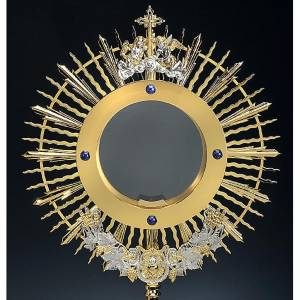 Two tone monstrance, angels, grapes, ears of wheat s2