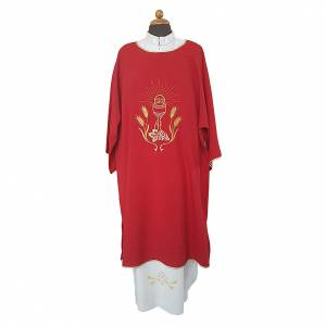 Copes, Roman Chasubles and Dalmatics: Ultralight Dalmatic with chalice, grapes and wheat embroidery on front and back, Vatican fabric 100% polyester