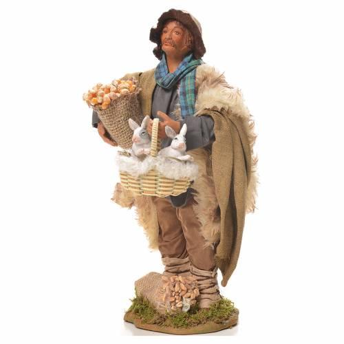 Uomo con cesto di conigli 24 cm presepe Napoli s2