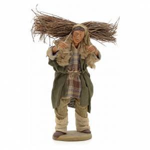 Uomo con legna 14 cm presepe terracotta Napoli s1