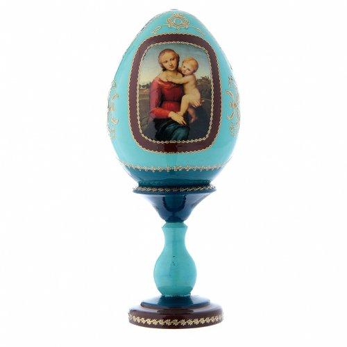 Uovo blu russo decorato a mano La Piccola Madonna Cowper h tot 20 cm s1