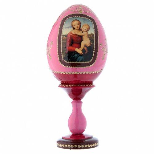 Uovo in legno russo decorato a mano La Piccola Madonna Cowper rosso h tot 20 cm s1