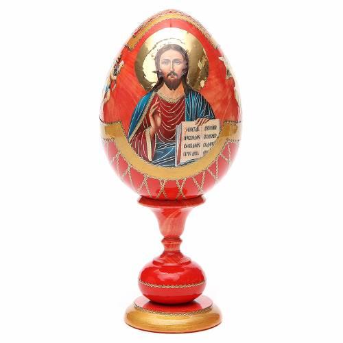 Uovo legno découpage russa Pantocratore tot h 20 cm stile Fabergè s1
